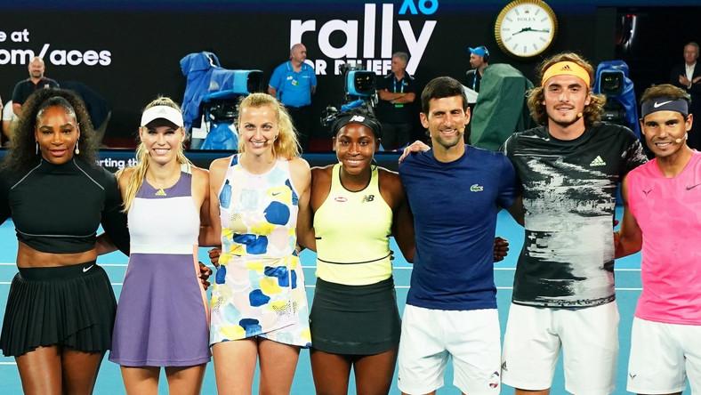 Od lewej: Serena Williams, Caroline Wozniacki, Petra Kvitova, Coco Gauff, Novak Djokovic, Stefanos Tsitsipas i Rafael Nadal