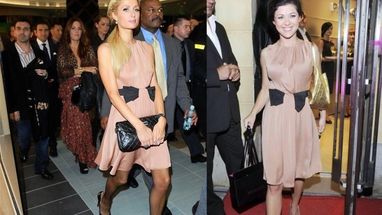 Paris Hilton i Kasia Cichopek w jednakowych kreacjach.