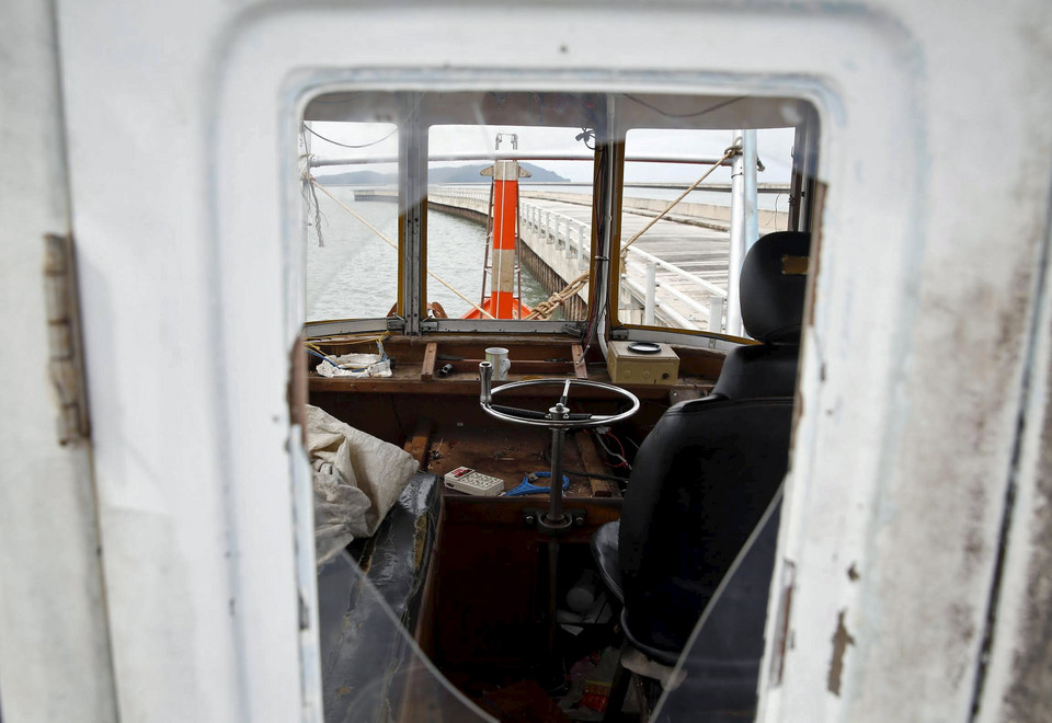 The captain's cabin on a boat that carried Rohingya migrants for three months is seen in Langkawi island