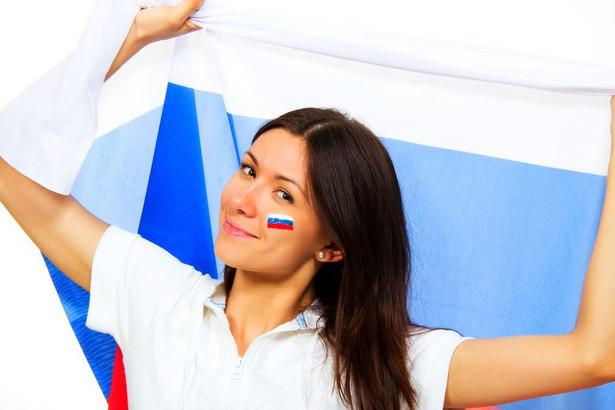 Rosjanka z flagą