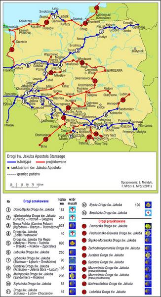 Drogi św. Jakuba w Polsce (stan w 2011 r.)