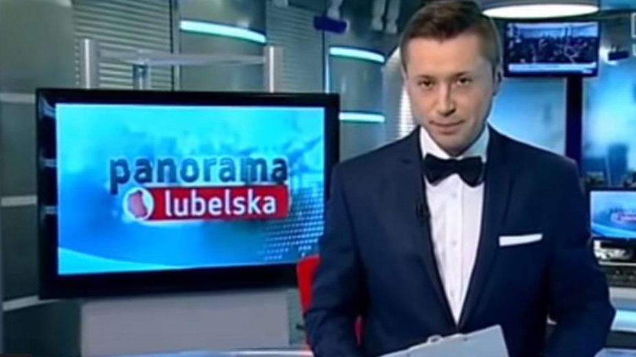 Tomasz Zalewa jako prowadzący Panoramę Lubelską