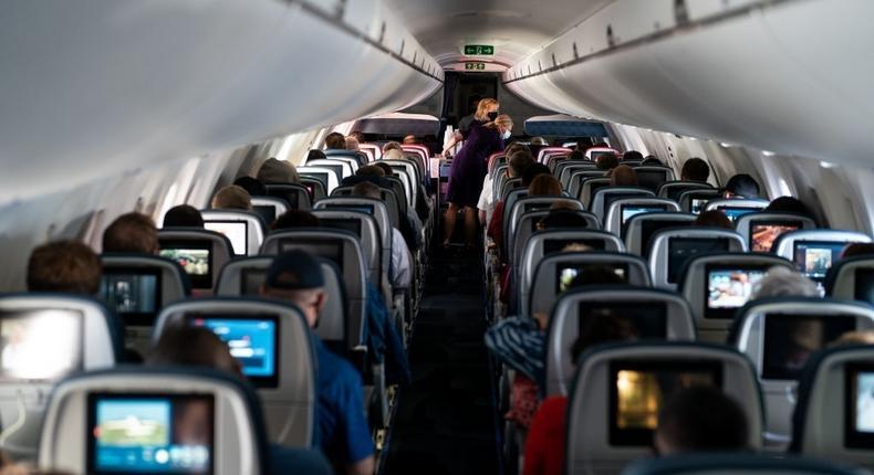 Passengers aboard an aircraft