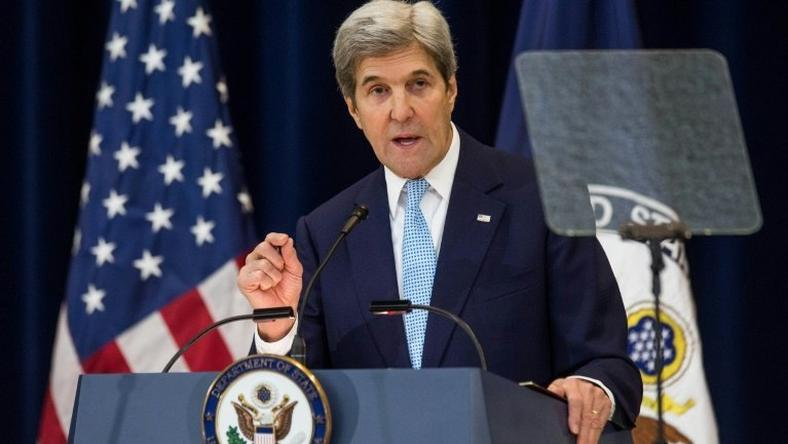U.S. Secretary of State John Kerry delivers a speech on Middle East peace at The U.S. Department of State on December 28, 2016