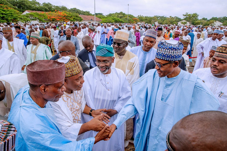President Muhammadu Buhari attends Eid el-Fitr Prayers earlier today at the Mabilla Barracks, in Abuja. [Twitter/@BashirAhmaad]