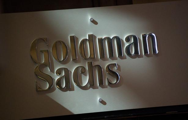 Logo Goldman Sachs w siedzibie nowojorskiej giełdy NYSE.