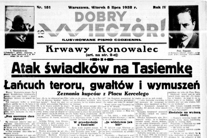 """Fragment gazety """"Dobry Wieczór"""". Nr 157, 5 lipca 1932"""