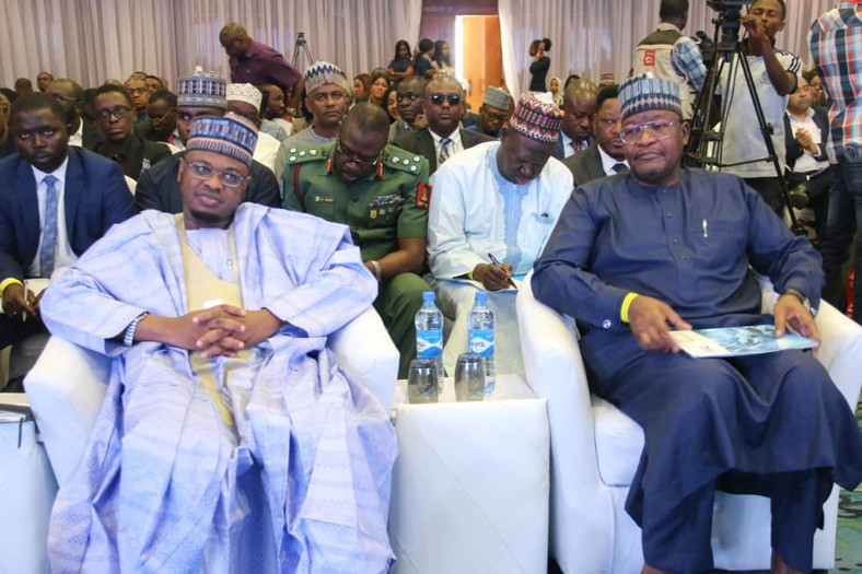Minister of Communications and Digital Economy, Dr. Isa Ali Ibrahim Pantami and Prof. Umar Danbatta, Executive Vice Chairman, NCC at the Annual Cyber Security Conference organised by the Nigerian Communications Commission. [Twitter/@FMoCDENigeria]
