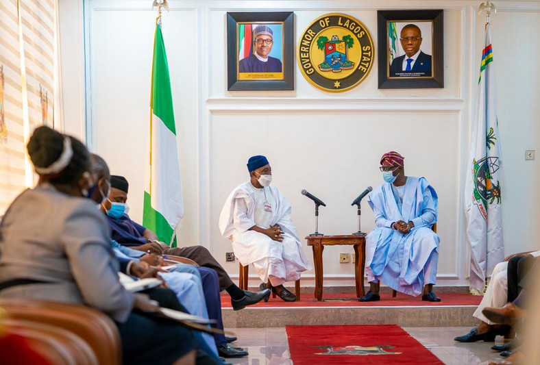 L-R: Minister of Agriculture and Rural Development, Alhaji Sabo Nanono, with Lagos State Governor, Mr Babajide Sanwo-Olu during the Minister's courtesy visit to the Governor, at Lagos House, Ikeja, on Thursday, August 27, 2020. [Twitter/@jidesanwoolu]