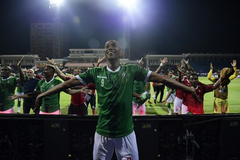 Madagascar celebrate their penalty shootout victory over DR Congo in the last 16