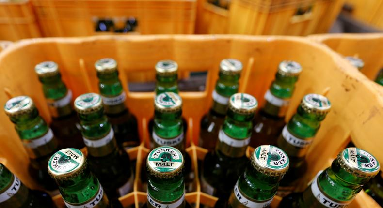 Bottles of Tusker Malt beer are seen inside a crate at the East African Breweries Limited factory in Ruaraka factory in Nairobi.