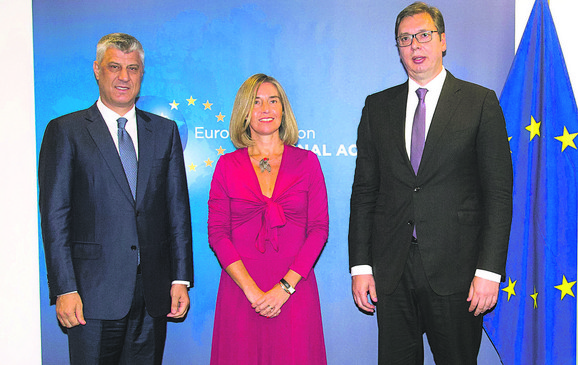 Tači, Mogerini i Vučić