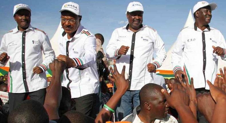 NASA Coalition principals Kalonzo Musyoka, Moses Wetangula, Musalia Mudavadi and Raila Odinga during their rally at the Masinde Muliro Grounds in Huruma on March 24, 2017.