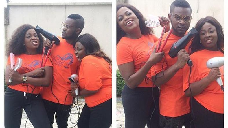 FalzThe Bahdguy and Wazobia FM OAP, Lolo 1. spotted on set of Funke Akindele's 'Jenifa's Diary.'
