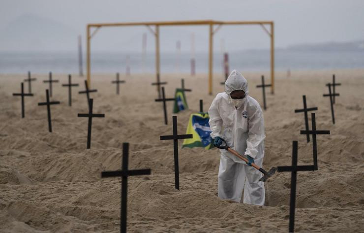 Brazil, grobovi - simobolična akcija na Kopakabani