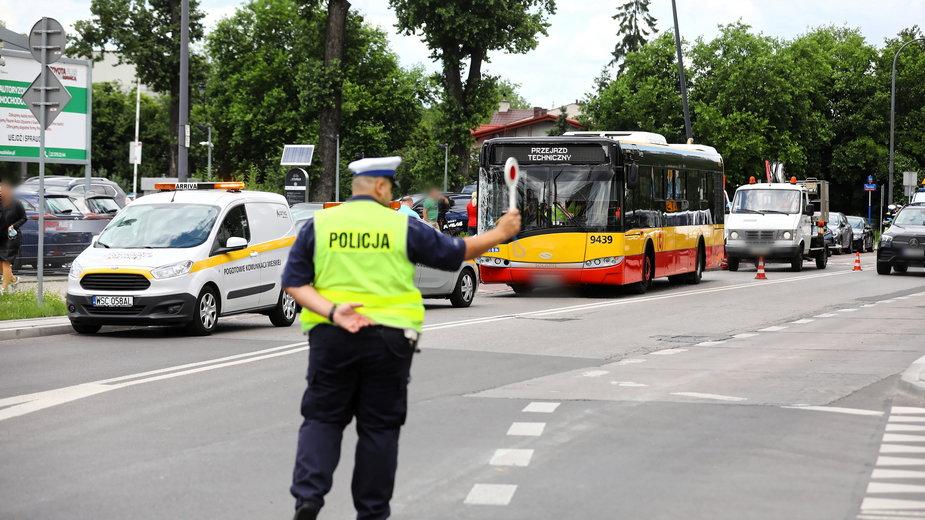 Miejsce wypadku na warszawskich Bielanach (07.07.2020)