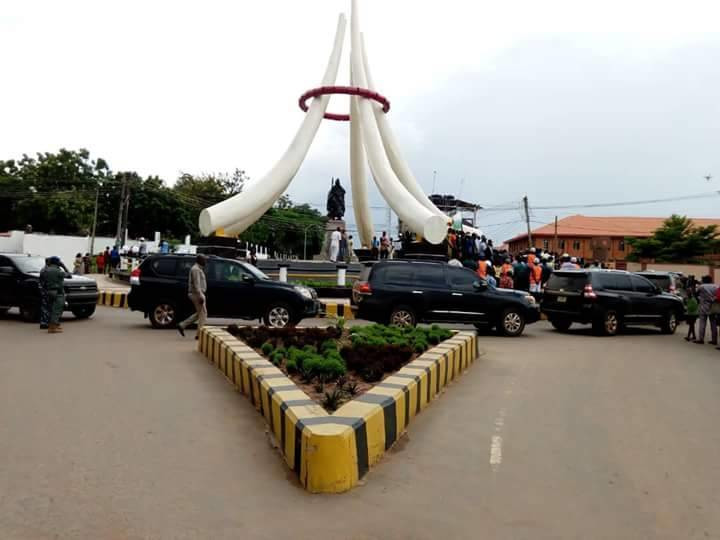 The site of the statue before it was set ablaze by irate youths in Onitsha. (Heartbeat of the East)
