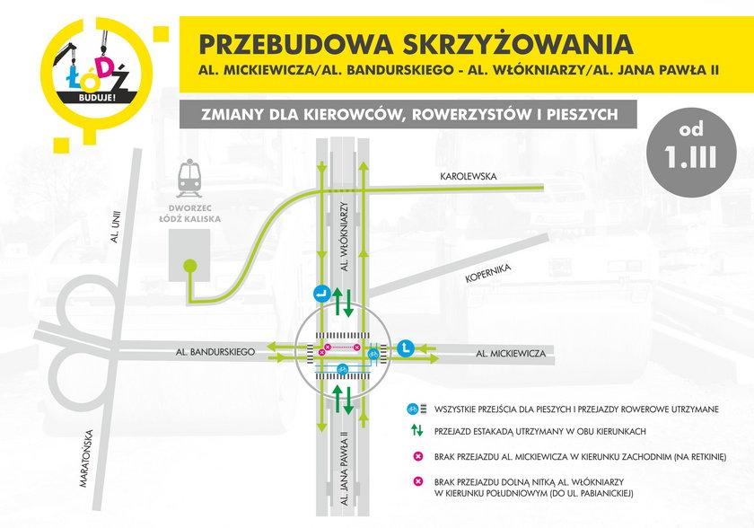 mapa objazdów w Łodzi