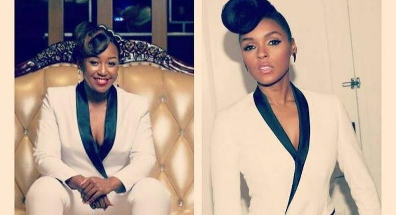 Betty Kyalo rocks white tux like Janella Monae for her birthday.