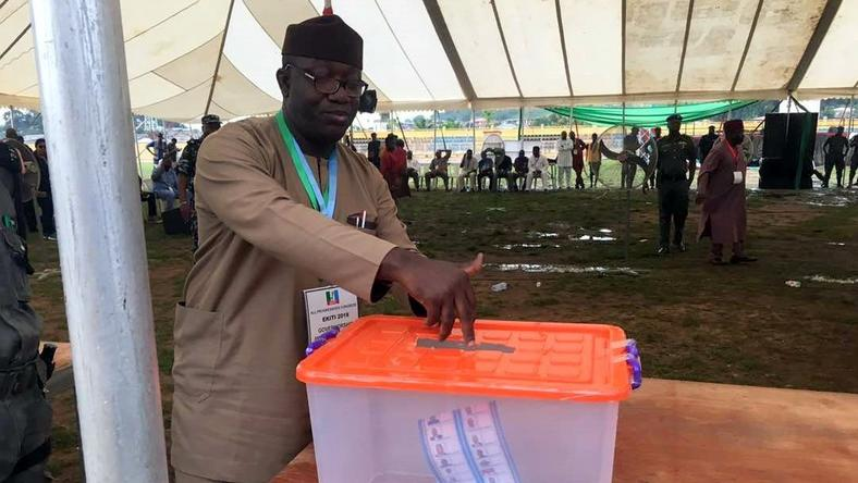 The Minister of Mines and Steel, Kayode Fayemi casting his vote at the Ekiti APC primaries held on Saturday, May 5, 2018