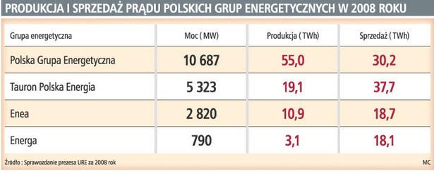 Produkcja i sprzedaż prądu polskich grup energetycznych w 2008 roku