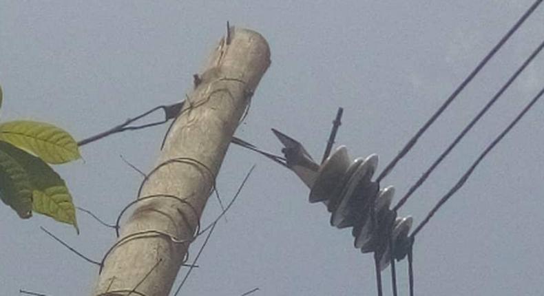 An electricity pole