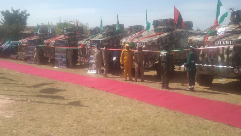 Image result for Buhari inaugurates first made in Nigeria military vehicle