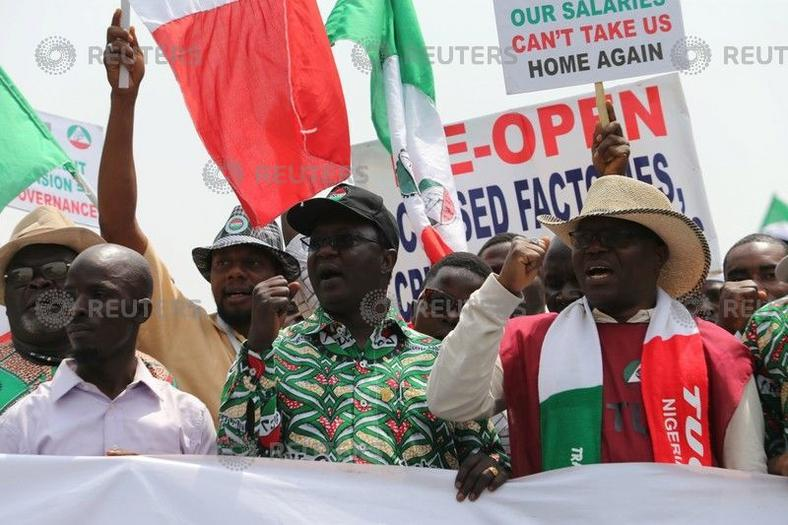 A president of the Nigeria Labour Congress Ayuba Philibus Wabba leads anti-government protesters during a march in Abuja, NigeriaFebruary 9, 2017.