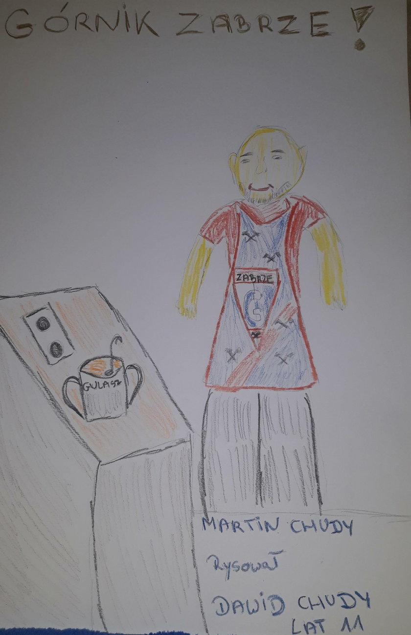 Dzieci skupiły się głównie na rysowaniu Chudego w stroju bramkarskim na boisku, ale zdarzyły się również prace przedstawiające Słowaka przy gotowaniu gulaszu.