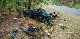 Groźny wypadek pod Miliczem. Auto w kawałkach