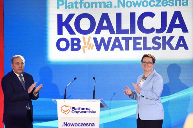 Przewodniczący PO Grzegorz Schetyna oraz przewodnicząca Nowoczesnej Katarzyna Lubnauer podczas wspólnej Konwencji mazowieckiej Platformy Obywatelskiej i Nowoczesnej
