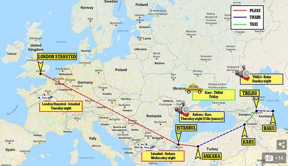 Mapa puta koji su prešli navijači Čelsija
