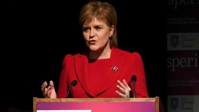 Scotland's First Minister Nicola Sturgeon delivers a lecture at the University of Sheffield in northern England, on November 7, 2016