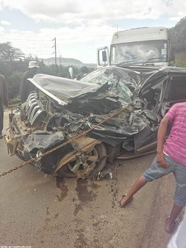 Accident involving trucks and 8 vehicles at the old church along Mai Mahiu