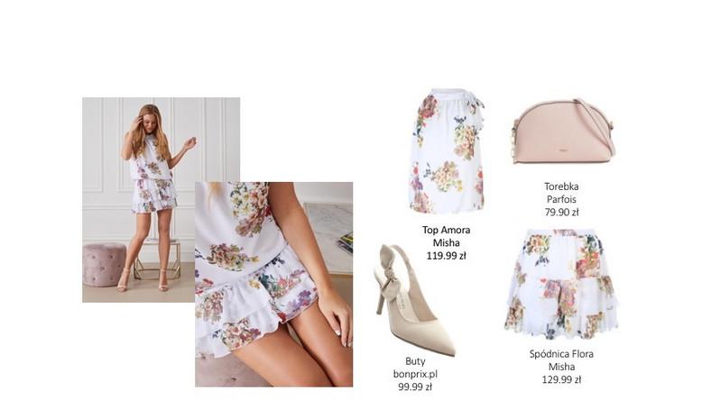 Komplet składający się z koszulki Amora i spódniczki Flora to zestaw idealny, aby podkreślić letnią opaleniznę. Klasyczna biel wspaniale współgra ze skórą muśniętą słońcem, jak i delikatnymi akcesoriami w kolorystyce nude.