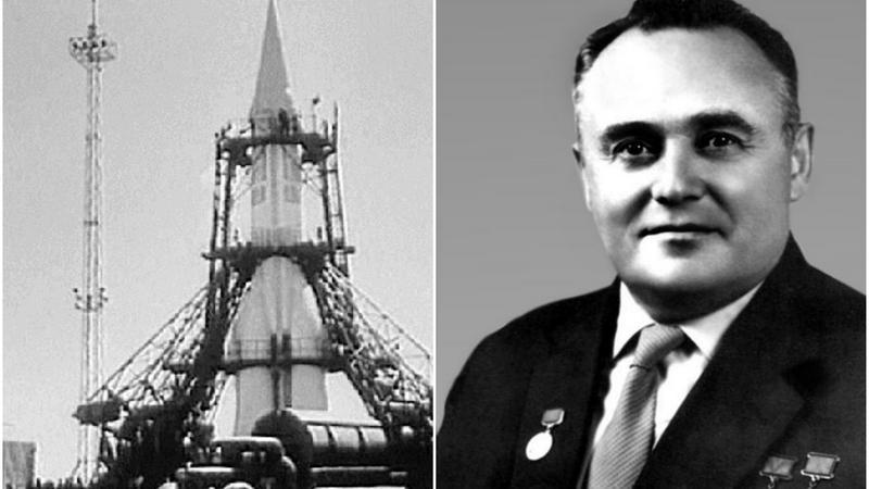 Siergiej Koroliow Fot. Horyzonty Technik/Public Domain i rakieta R-7 Fot. Mil.ru