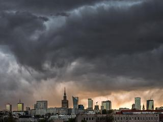 Storm clouds over center of Warsaw