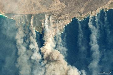 A NASA Földi Obszervatóriuma által 2020. január 9-én készített műholdfelvételen füstoszlopok szállnak fel az erdőtüzek sújtotta dél-ausztráliai Kenguru-szigetről, amelyen 156 ezer hektárnyi területet, a sziget közel egyharmadát perzselték fel a lángok / MTI/EPA