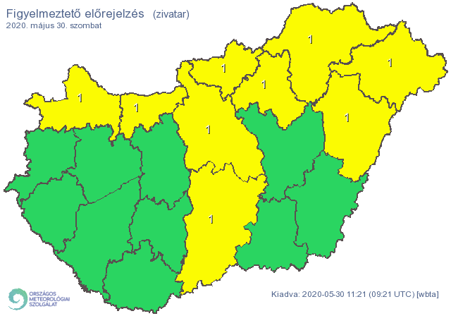 Északon és az ország középső részén alakulhatnak ki zivatarok / Forrás: Met.hu