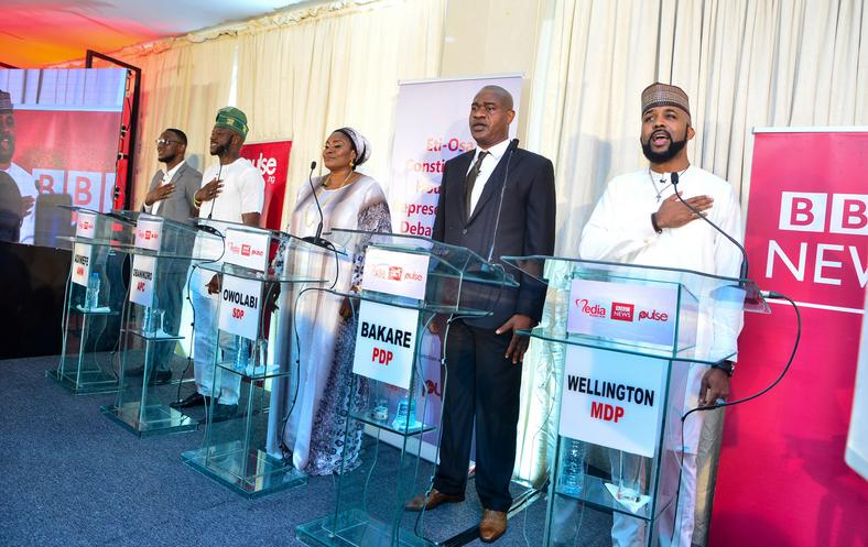 L-R: Ferdinand Adimefe of the Alliance for New Nigeria (ANN), Babajide Obanikoro of the All Progressives Congress (APC), Tessy Owolabi of the Social Democratic Party (SDP), Omotesho Bakare of the Peoples Democratic Party (PDP) and Olubankole Wellington of the Modern Democratic Party (MDP) at a debate for candidates contesting for the Eti-Osa constituency seat in the House of Representatives
