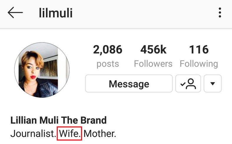 Muli's new bio (Instagram)