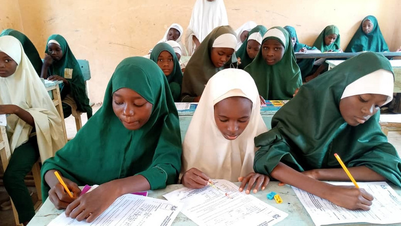 Primary Six Pupils at  Alhudahuda College, Zaria, writing Common Entrance Examination for placement into Junior Secondary School One. (NAN)
