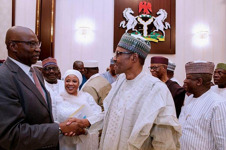 President Muhammadu Buhari with Secretary to Government of the Federation Mr Boss Mustapha at an event (presidency)