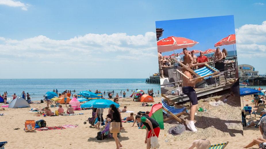 Na jednej z plaż w Wielkiej Brytanii doszło do brutalnej awantury