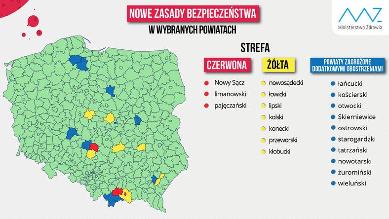 Strefy żółte i czerwone. Nowa lista powiatów