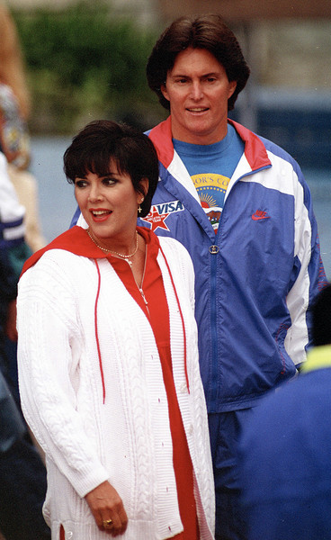American athlete Bruce Jenner with his wife Kris Jenner, circa 1990 (Photo: Kypros / Getty Images)