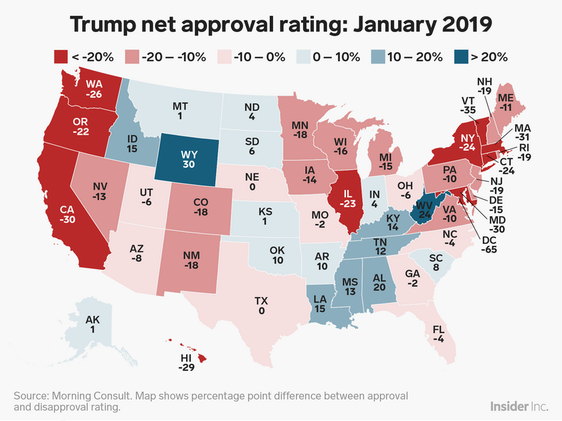 Here S How Trump S Approval Ratings Have Changed In Each State In