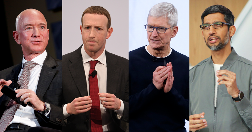 Od lewej: Jeff Bezos z Amazona, Mark Zuckerberg z Facebooka, Tim Cook z Apple'a, Sundar Pichai z Google'a. Wszyscy czterej zeznawali w środę w Kongresie pod przysięgą.