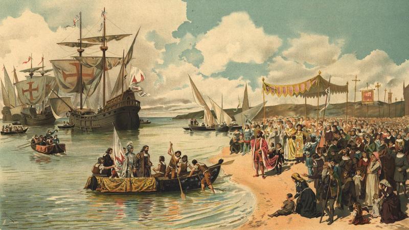 Wypłynięcie ekspedycji Vasco da Gamy na obrazie Alfredo Roque Gameiro