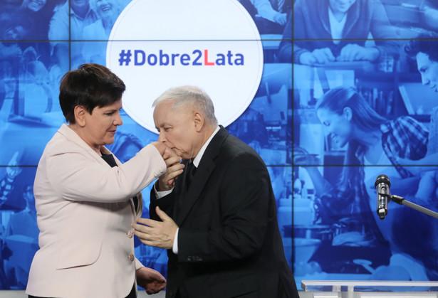 Prezes PiS Jarosław Kaczyński i premier Beata Szydło